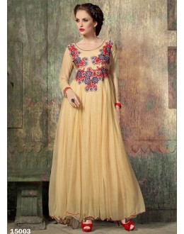 Designer Cream Embroidered Georgette Party Wear Gown - 24CA60-15003 ( 24CA-24CA60-HC )