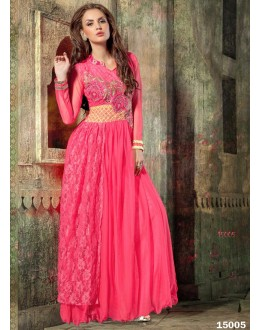 Designer Pink Embroidered Georgette Party Wear Gown - 24CA60-15005 ( 24CA-24CA60-HC )