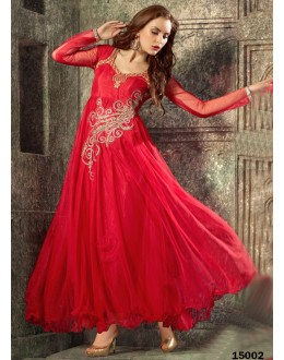 Designer Red Embroidered Georgette Party Wear Gown - 24CA60-15002 ( 24CA-24CA60-HC )