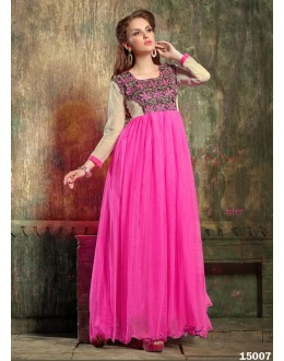 Designer White & Pink Embroidered Georgette Party Wear Gown - 24CA60-15007 ( 24CA-24CA60-HC )