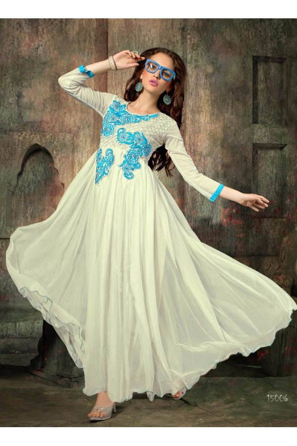 Designer White Embroidered Georgette Party Wear Gown - 24CA60-15006 ( 24CA-24CA60-HC )