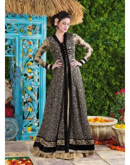 Designer Black & Cream Embroidered Net & Velvet Anarkali Suit - 24CA83-105 ( 24CA-24CA82-83 )