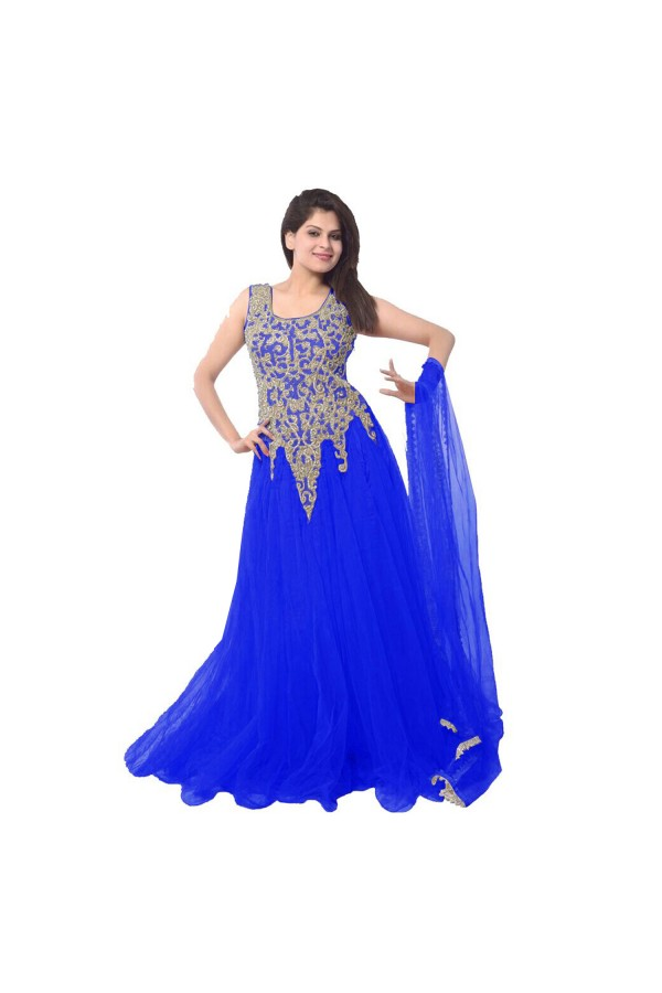 Designer Blue Embroidered Net Party Wear Gown - 24CA87-04 ( 24CA-24CA87 )