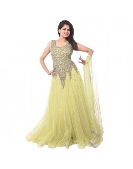 Designer Light Yellow Embroidered Net Party Wear Gown - 24CA87-01 ( 24CA-24CA87 )