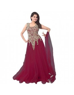 Designer Maroon Embroidered Net Party Wear Gown - 24CA87-15 ( 24CA-24CA87 )