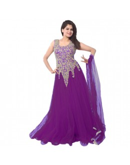 Designer Purple Embroidered Net Party Wear Gown - 24CA87-09 ( 24CA-24CA87 )