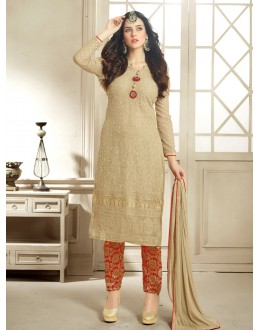 Beautiful Cream & Red Georgette & Net Embroidered Salwar Suit - 24CA96-1003 ( 24CA-24CA96 )