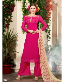 Designer Pink Embroidered Georgette Palazzo Suit - 24CA08-13601 ( 24CA-660 )