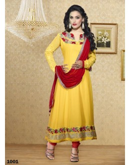 Designer Yellow & Red Embroidered Georgette Anarkali Suit - 24CA63-1001 ( 24CA-VOL-42 )