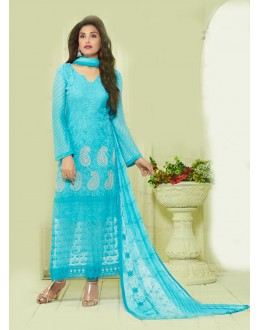 Party Wear Sky Blue Chiffon Salwar Suit - 24CA135-2211