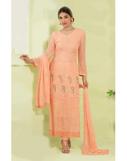 Party Wear Light Orange Chiffon Salwar Suit - 24CA135-2214