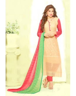 Party Wear Cream & Pink Chiffon Salwar Kameez - 24CA135-2216