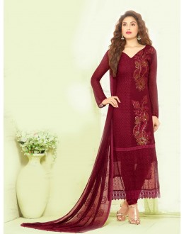 Party Wear Maroon Chiffon Salwar Suit - 24CA135-2217