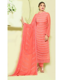 Party Wear Orange Chiffon Salwar Kameez- 24CA135-2218