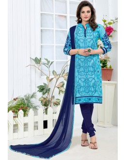 Party Wear Sky Blue Churidar Suit - 24CA136-01