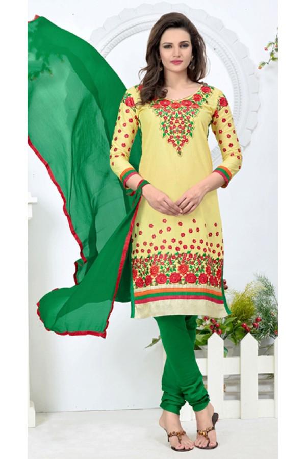 Office Wear Yellow & Green Churidar Suit - 24CA136-03