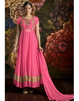 Ethnic Wear Pink Poly Georgette Anarkali Suit - 24CA139-170