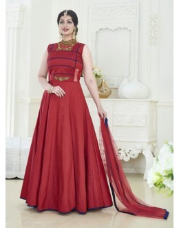 Ayesha Takia In Maroon Tapeta Silk Anarkali Suit  - 24CA192-181