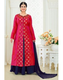 Ayesha Takia In Red & Blue Jacquard Lehenga Suit  - 24CA192-184