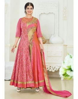 Ayesha Takia In Pink Silk Slit Anarkali Suit  - 24CA192-186