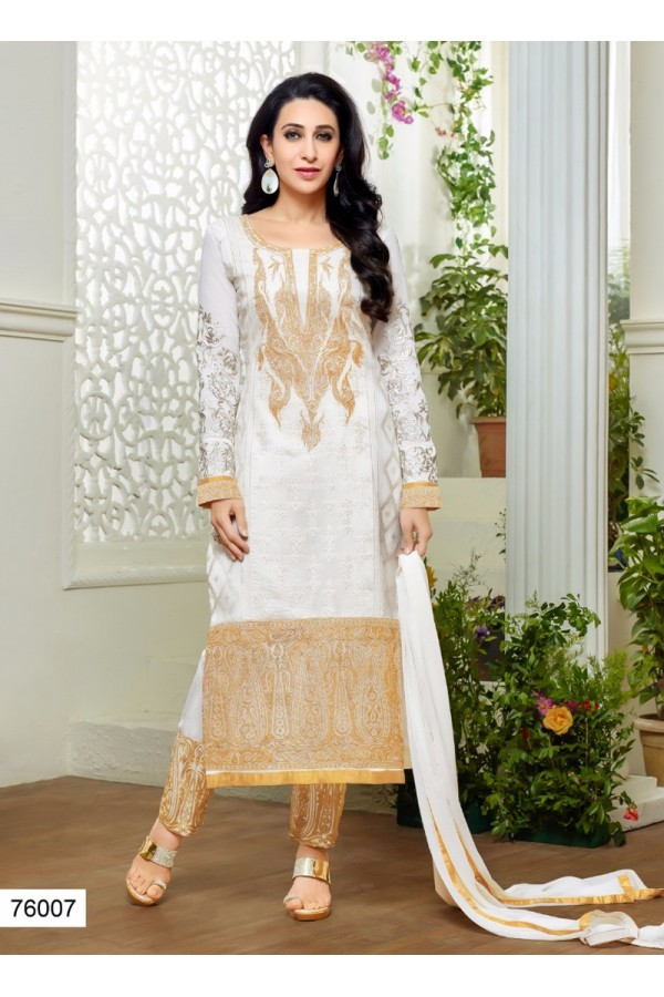 Designer White Embroidered Georgette Party Wear Salwar Suit - 24CA78-76007 ( 24CA78-Emboid-3 )
