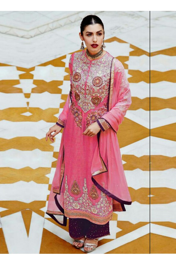 Designer Pink Embroidered Georgette Palazzo Suit - 24CA88-6004 ( 24CA88 )