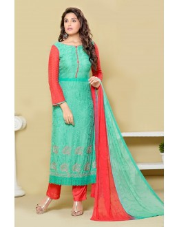 Festival Wear Sky Blue & Red Chiffon Salwar Suit  - 24CA151-2309