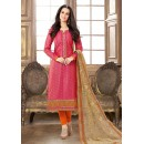 Ethnic Wear Pink & Orange Jacquard Cotton Salwar Suit  - 83001