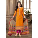 Ethnic Wear Orange & Pink Jacquard Cotton Salwar Suit  - 83002