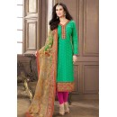 Office Wear Green & Pink Jacquard Cotton Salwar Suit  - 83003