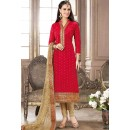 Festival Wear Red & Beige Jacquard Cotton Salwar Suit  - 83004