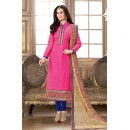 Ethnic Wear Pink & Blue Jacquard Cotton Salwar Suit  - 83005