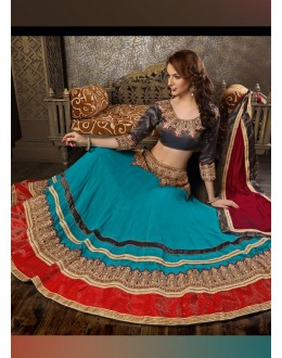 Georgette Blue Lehenga Choli Dress Material - 67622