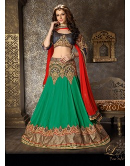 Georgette Green Lehenga Choli Dress Material - 67625