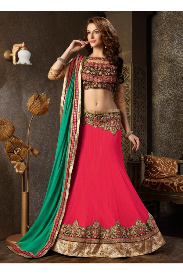 Georgette Pink Lehenga Choli Dress Material - 67620