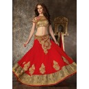Georgette Red Lehenga Choli Dress Material - 67624