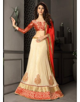 Gota Silk Cream Lehenga Choli Dress Material - 67638