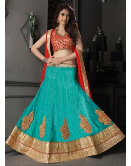 Gota Silk Green Lehenga Choli Dress Material - 67631