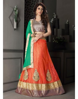 Gota Silk Orange Lehenga Choli Dress Material - 67636