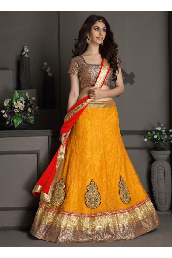 Gota Silk Yellow Lehenga Choli Dress Material