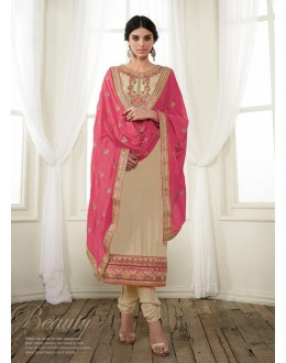 Georgette Brown Salwar Suit Dress Material - 36210