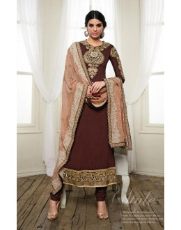Georgette Brown Salwar Suit Dress Material - 36216