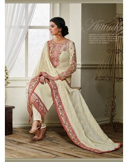 Georgette Cream Salwar Suit Dress Material - 36213