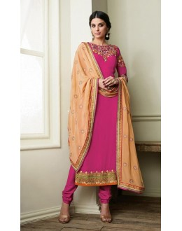 Georgette Pink Salwar Suit Dress Material - 36214