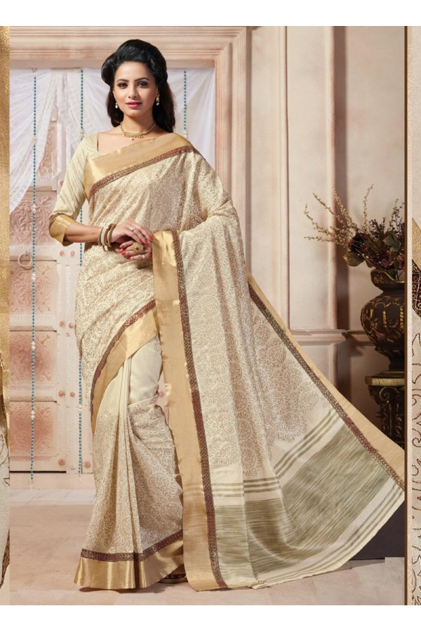 Traditional Wear Art Silk Off White Saree - 67951