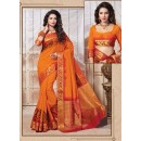 Traditional Wear Art Silk Orange Saree - 67948