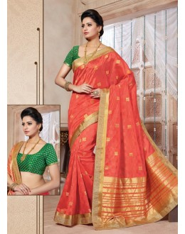 Traditional Wear Art Silk Orange Saree - 67959