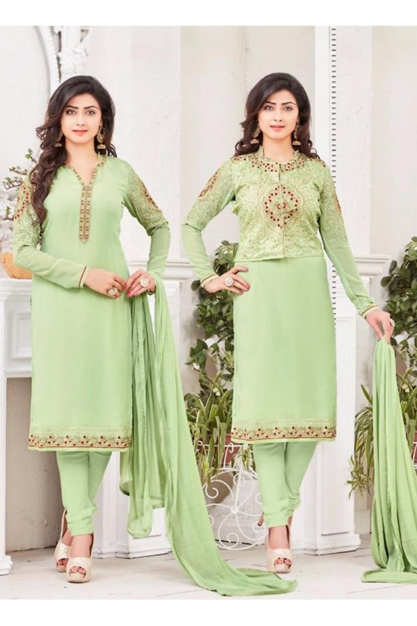 Casual Wear Georgette Green Salwar Kameez Dress Material  - 67984