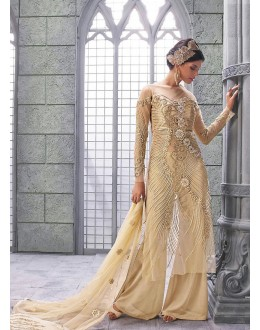 Party wear Beige Net Salwar suit -67893