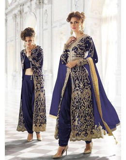 Party wear Blue Net  Salwar suit -67904